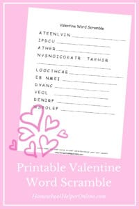 Free printable Valentine's Day word scramble puzzle