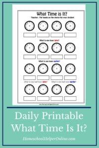 What time is it? free printable worksheet