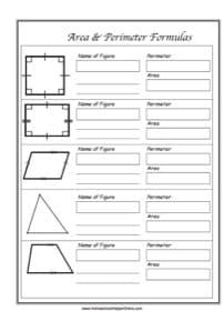 Area & Perimeter Formulas ~ Geometry Notebooking Page