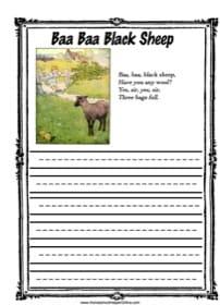 Baa Baa Black Sheep Copy Work
