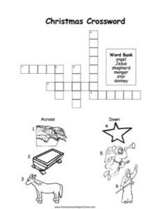 Christmas Story Picture Crossword Worksheet