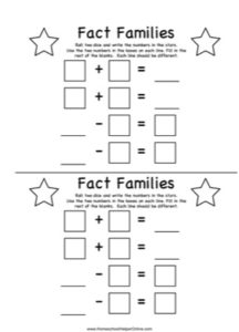 Fact Families - Addition & Subtraction Free Worksheet