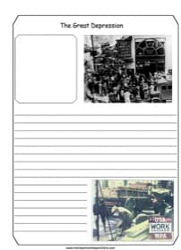 Great Depression Notebooking Page