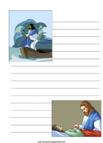 Jesus Performing Miracles ~ Bible Notebooking Page