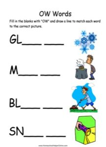 Long OW Words PreSchool Worksheet