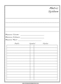 Metric System Notebooking Page