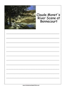 """Claude Monet's """"River Scene"""" Notebooking Page"""