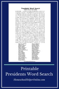 Free printable word search of US Presidents