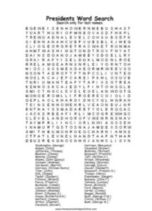 Presidents Word Search