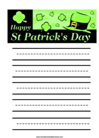 St. Patrick's Day Elementary Notebooking Page