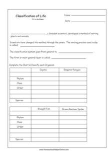 Taxonomy Worksheet - Homeschool Helper Online