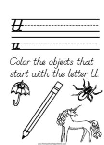 Alphabet Tracer Letter U Worksheet