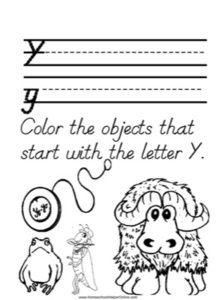 Alphabet Tracer Letter Y Worksheet