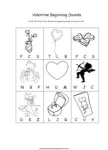 Valentine Beginning Sounds Worksheet