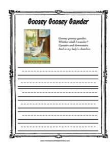 Goosey Gander Copy Work