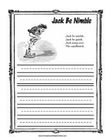 Jack Be Nimble Copy Work