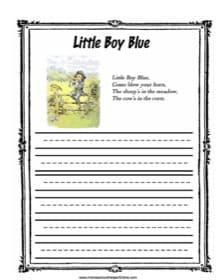 Little Boy Blue Copy Work