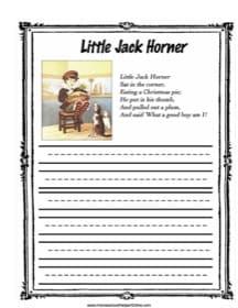 Little Jack Horner Copy Work