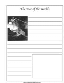 The War of the Worlds ~ Literature Notebooking Page