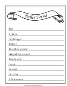 Ballet Terms Worksheet