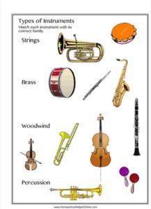 Instrument Families Worksheet