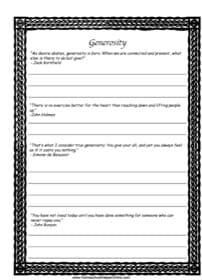 Generosity Copy Work