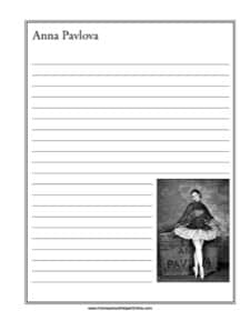 Anna Pavlova Notebooking Page