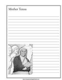 Mother Teresa Notebooking Page