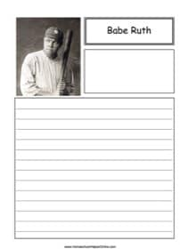 Babe Ruth Notebooking Page