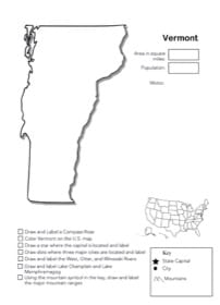 Vermont Geography Worksheet