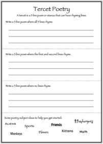 Tercet Poetry Worksheet