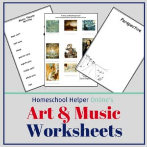 Music and Art Worksheets to supplement your fine arts studies