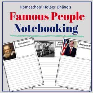 A collection of famous people notebooking pages for writing biographies