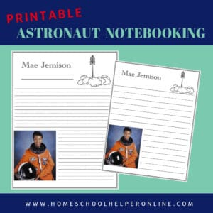 Two astronaut notebooking pages to study Mae Jemison