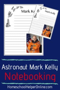 Free astronaut notebooking page for Mark Kelly
