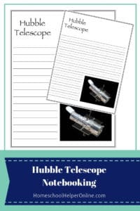 Two notebooking pages for the hubble space telescope