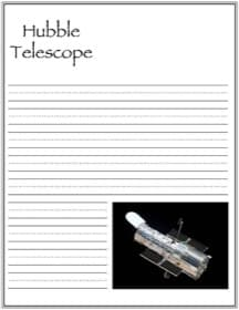 Hubble Space Telescope Handwriting Notebooking Page
