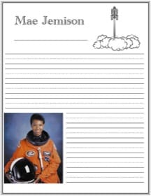 Printable notebooking page for astronaut Mae Jemison with handwriting lines