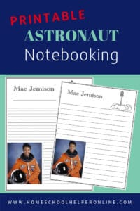 Notebooking page for astronaut Mae Jemison