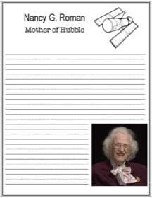 Mother of Hubble, Nancy Roman, printable handwriting notebooking page
