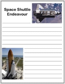 Printable Space Shuttle Endeavour notebooking page