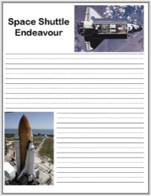 Printable Space Shuttle Endeavour handwriting notebooking page