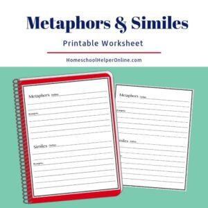 Free worksheet to study metaphors and similes