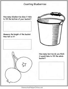 Counting blueberries worksheet