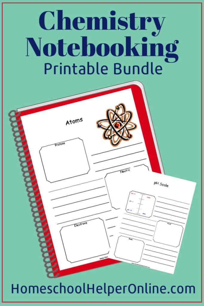 Free chemistry notebooking printable bundle includes atoms, chain reactions, periodic table, and more. #cheistry #notebooking