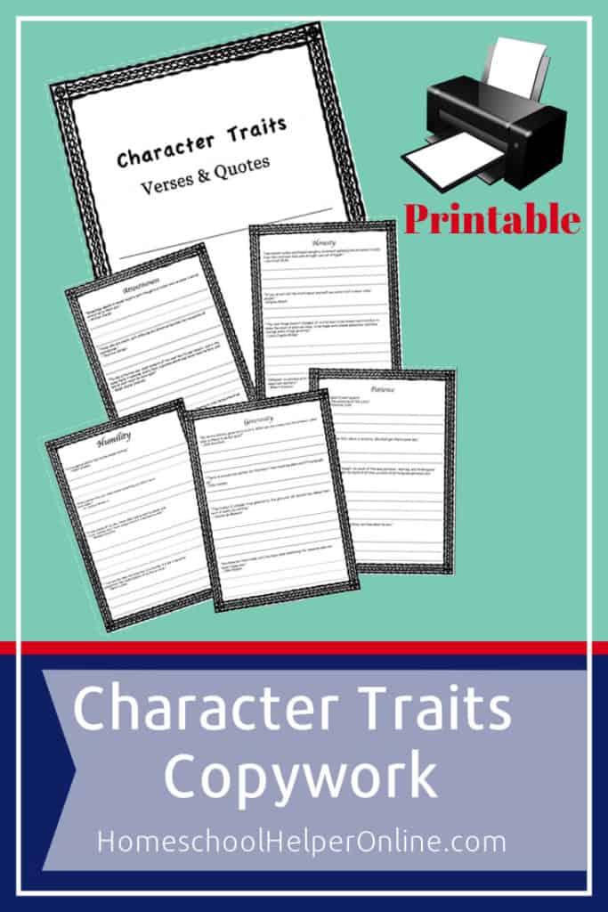 Printable character traits copywork pack