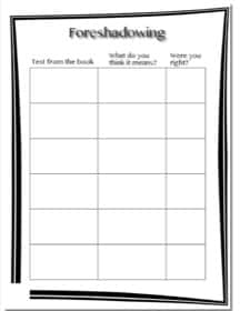 printable worksheet to study foreshadowing