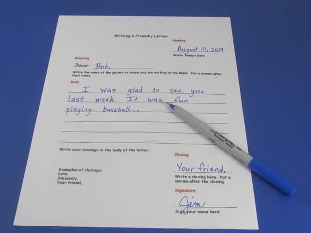 Friendly letter worksheet