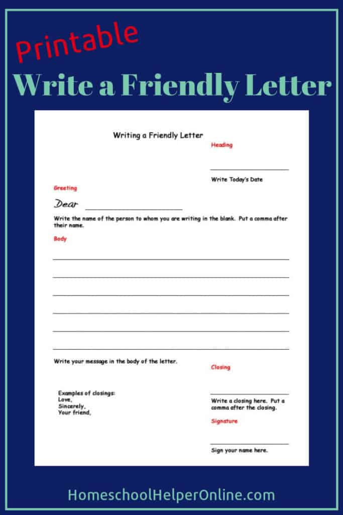 Write a Friendly Letter Worksheet