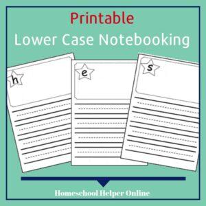 Lower Case Alphabet Notebooking